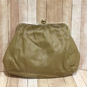 Leather Made in Italy Taupe Kisslock Clutch